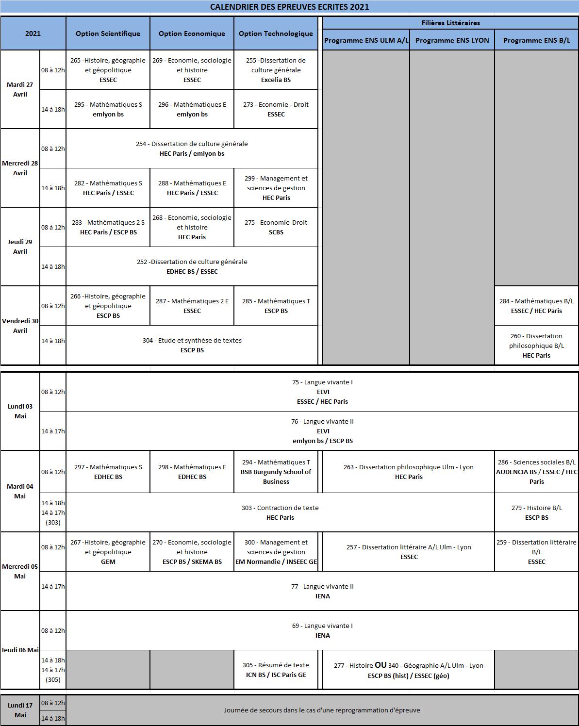 Calendrier Concours 2021 Cpge Le calendrier des épreuves écrites |